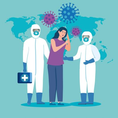 woman sick and health professionals with protective clothing for coronavirus 2019