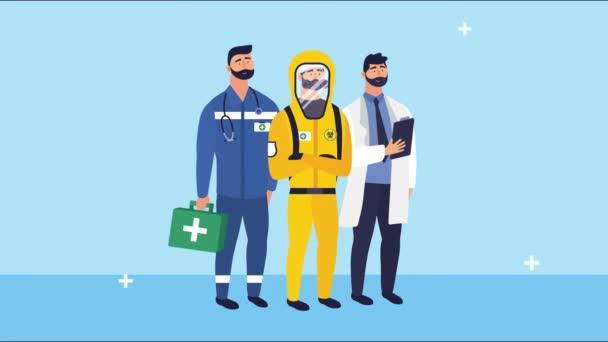 orvosok személyzet csoport karakterek animáció
