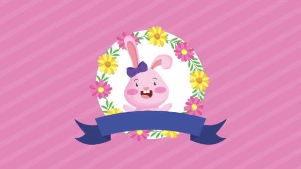 happy easter animated card with cute rabbit and flowers