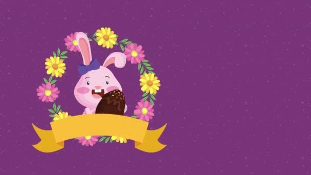 Veselé velikonoční animované karty s králičí pár a vejce malované