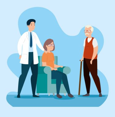 old couple in waiting room with doctor