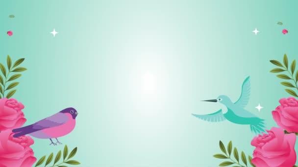 krásná květinová zahrada s ptačí scénou