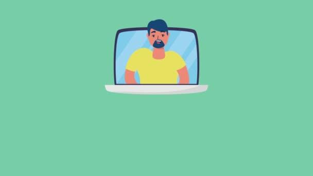 muž v notebooku online nakupování s košíku