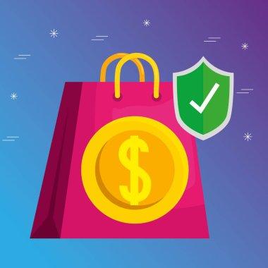Shopping bag coin and shield vector design