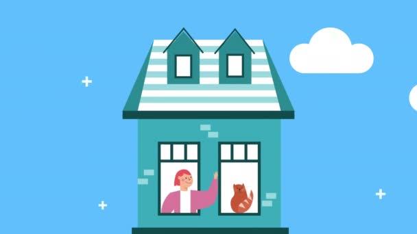 nő macskával apartman ablakban marad otthon kampány