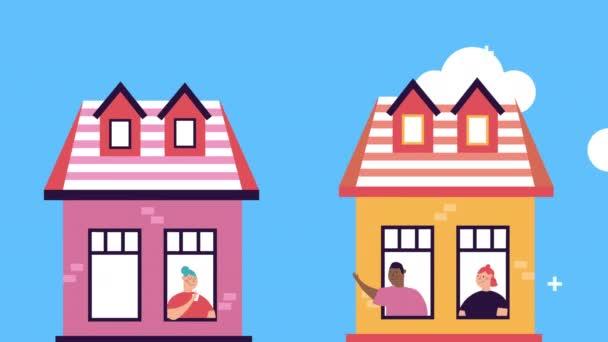 lidé v apartmánových oknech zůstávají doma kampaň