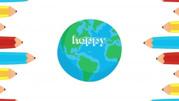 šťastný učitelé den oslavy s barvami tužky a zeměkoule