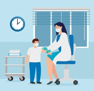 doctor female vaccinating to boy in consulting room