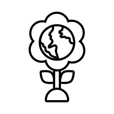 flower with world planet earth line style