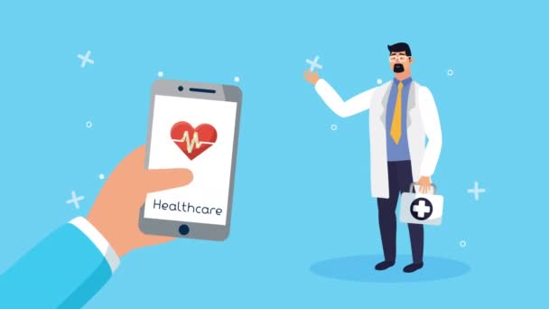 Arzt mit Smartphone-Gesundheitstechnologie online