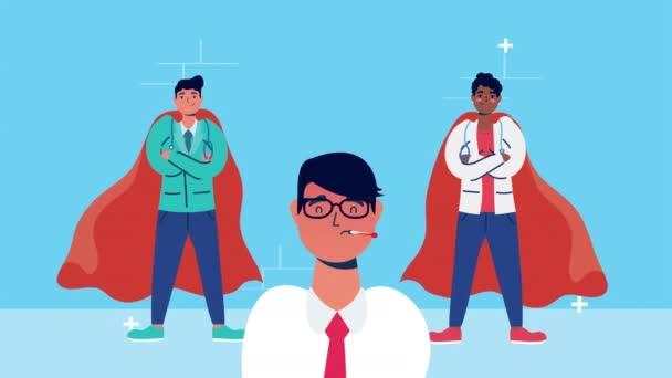 orvosok személyzet hős köpeny karakterek