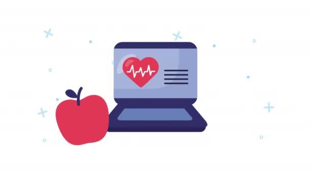 Laptop mit Online-Gesundheitsversorgung und Herz-Kreislauf-System
