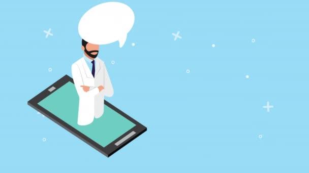 Arzt im Smartphone mit Gesundheits-Online-Technologie