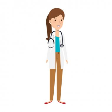 doctor female with stethoscope isolated icon