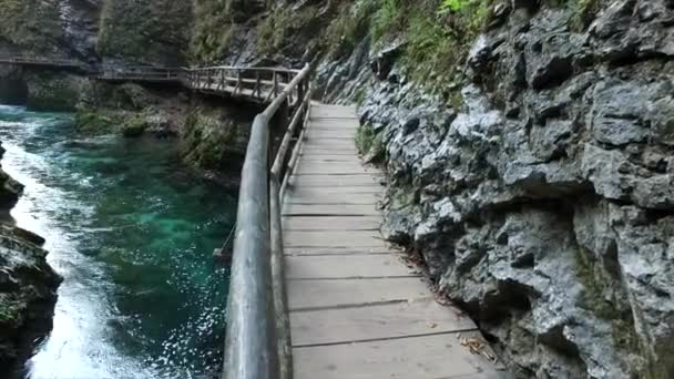 Tyrkysová voda v slavné Vodopády Vintgar, Slovinsko, Evropa