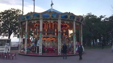 Vintage merry-go-round for kids on the Boulevard de la Croisette in Cannes, France