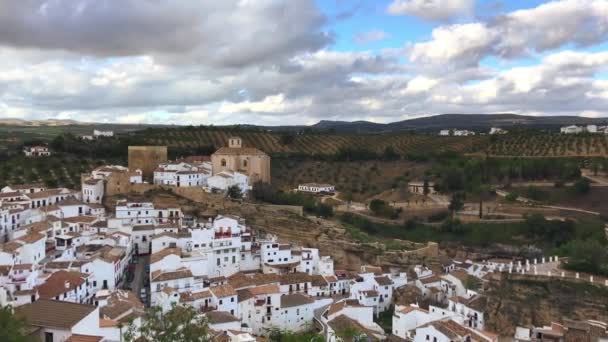 Panoramic view of Setenil de las Bodegas, Andalusia, Spain. White village