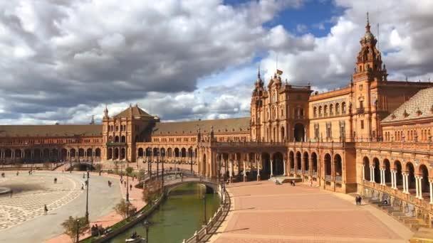 SPAIN, SEVILLE - MARCH 23: View of Beautiful Plaza de Espana, Seville, Spain on March 23, 2017