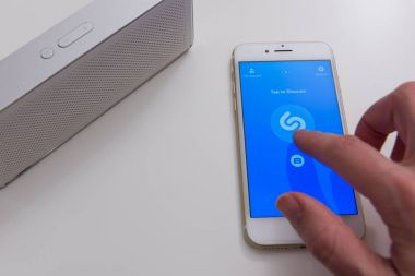 Shazam mobile application on screen of Apple Iphone 7