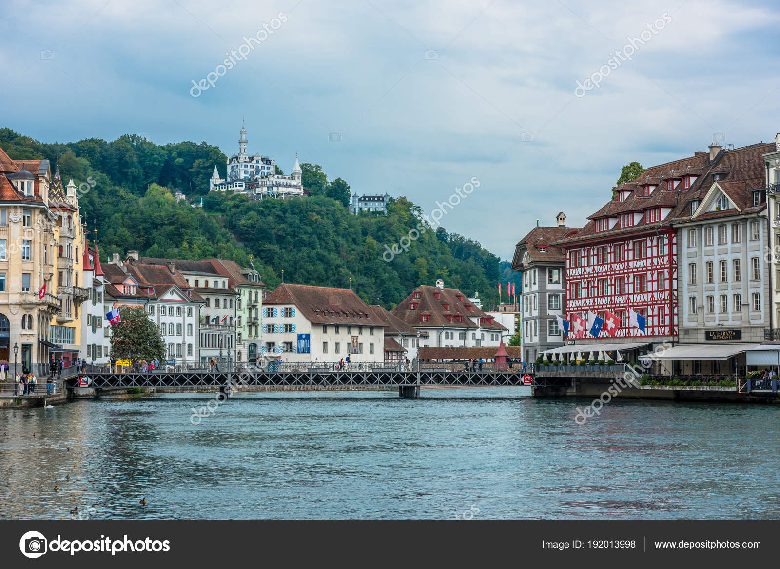 View Of Historic Luzern City Center Stock Editorial Photo