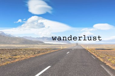 Inspirational typographic quote wanderlust