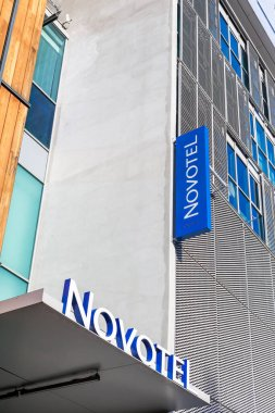 Novotel logo at hotel building located in Lyon, France. Lyon, France - February 21, 2020