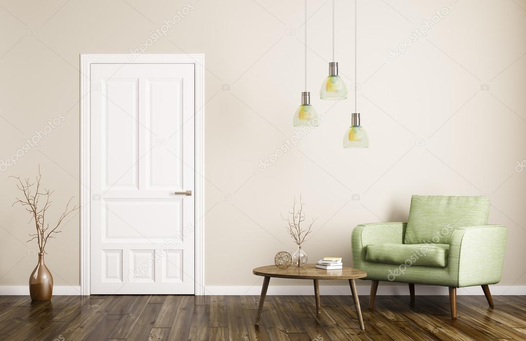 Moderne woonkamer interieur met deur en fauteuil 3D-rendering ...