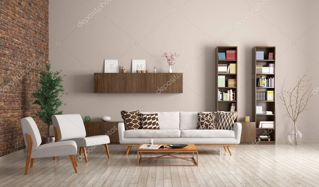 Moderne Wohnzimmer Interieur-3d-rendering — Stockfoto © scovad ...