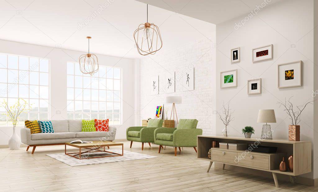 moderne interieur van woonkamer 3d rendering — Stockfoto © scovad ...
