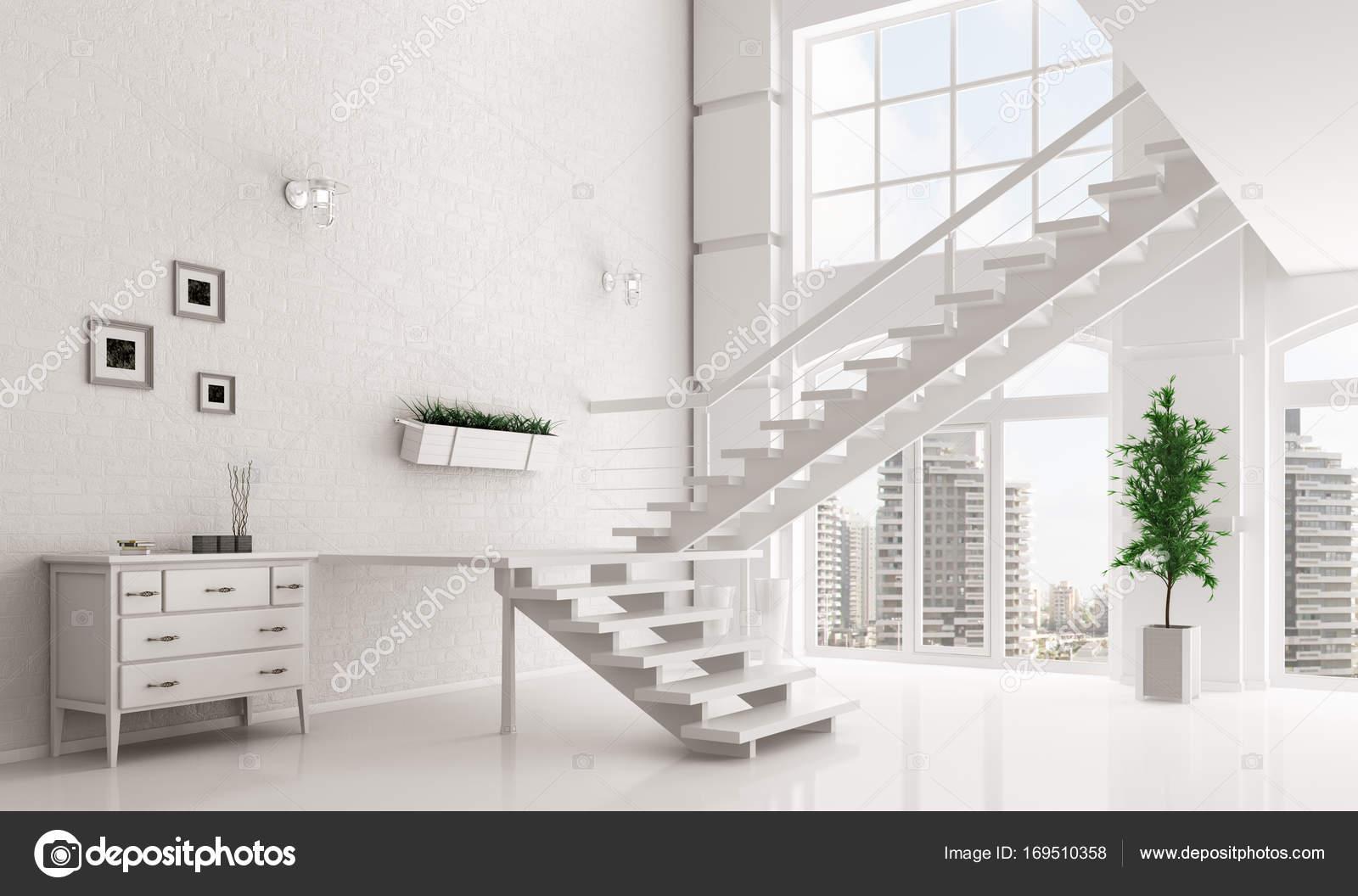 wei e halle mit treppe innen 3d rendering stockfoto scovad 169510358. Black Bedroom Furniture Sets. Home Design Ideas