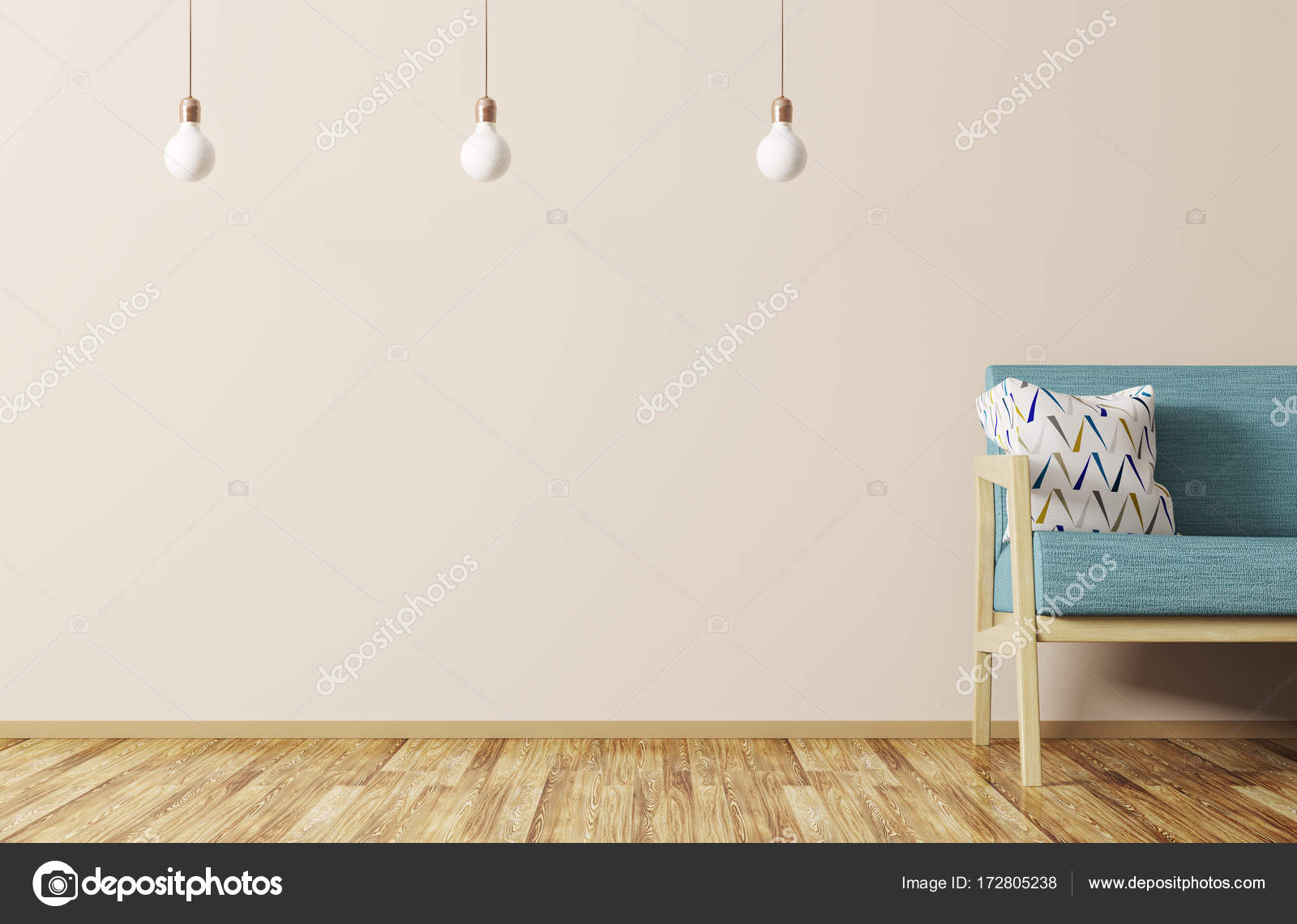 Woonkamer Lampen Modern : Modern interieur van een woonkamer met sofa en lampen 3d rendering
