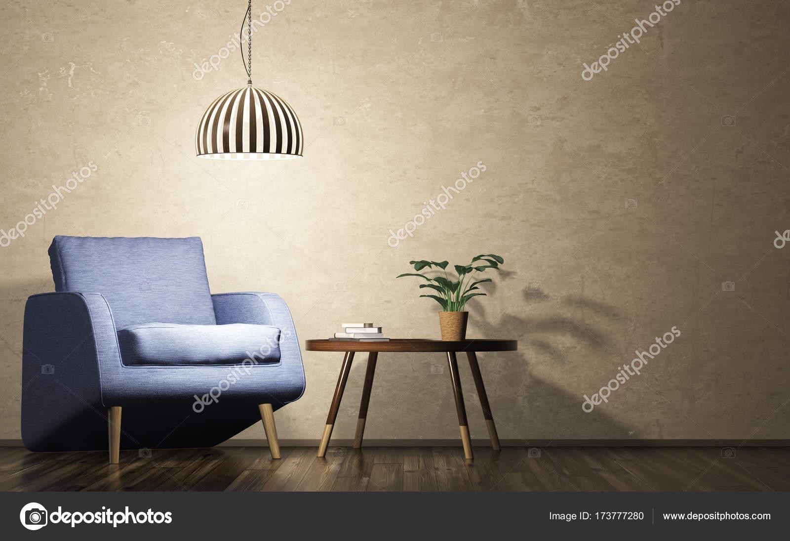Moderne Wohnzimmer Abends Interieur Mit Blauen Lampe, Sessel Und Couchtisch  3D Rendering U2014 Foto Von Scovad