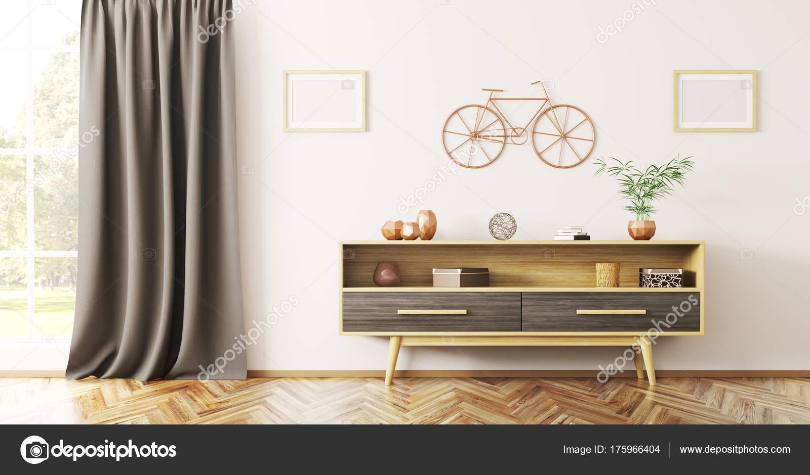 Design De Interiores De Sala De Estar Com O Aparador De Madeira  -> Fotos De Aparador De Sala
