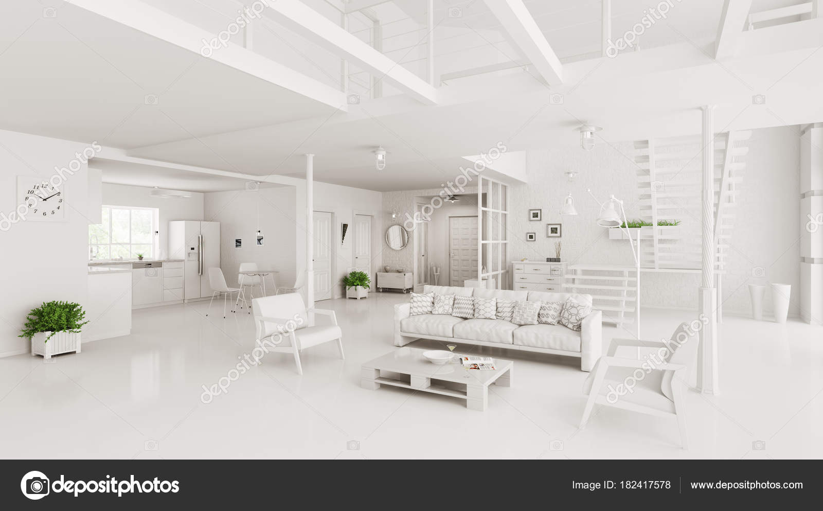 Interieur des modernen Hauses 3D-Rendering — Stockfoto © scovad ...