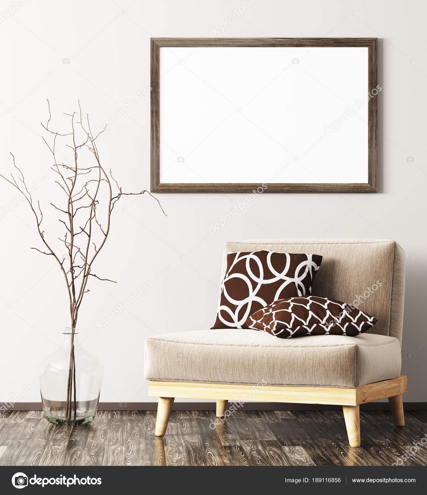 Modernes Interieur mit Sessel, Vase und Mock-up Rahmen 3d renderin ...