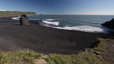Seaside of Iceland, with black sand and rocks