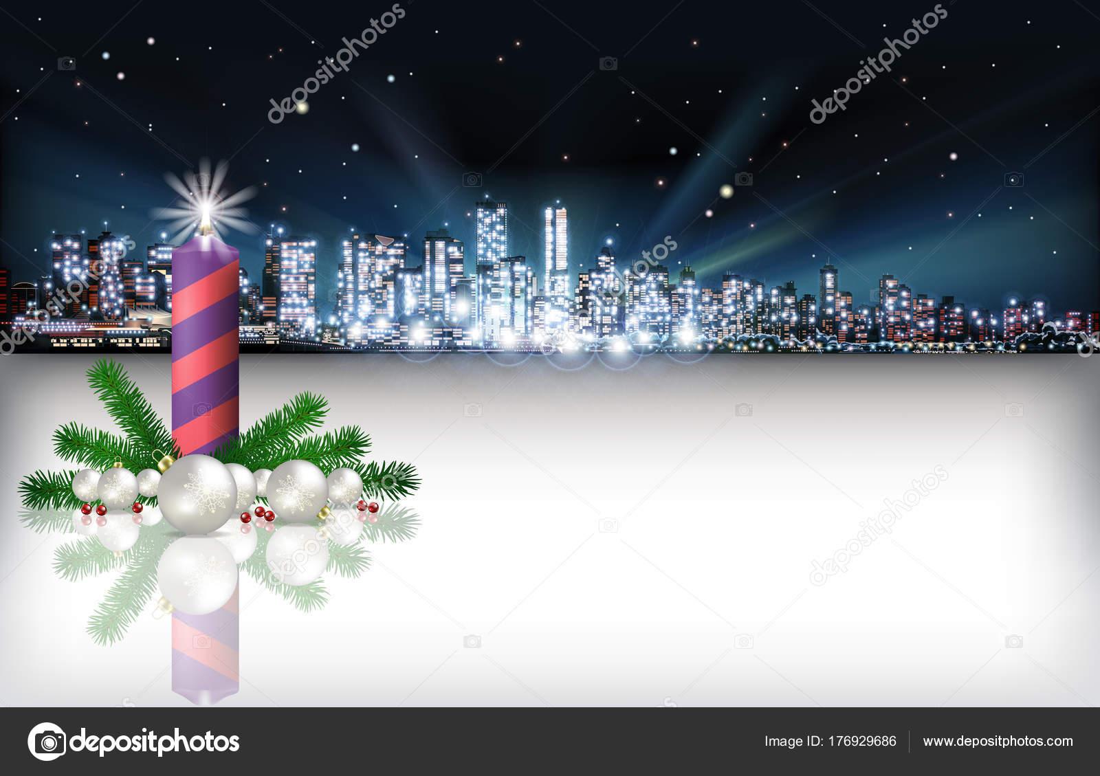 Abstrakte Weihnachten Begrüßung mit Silhouette der Stadt ...