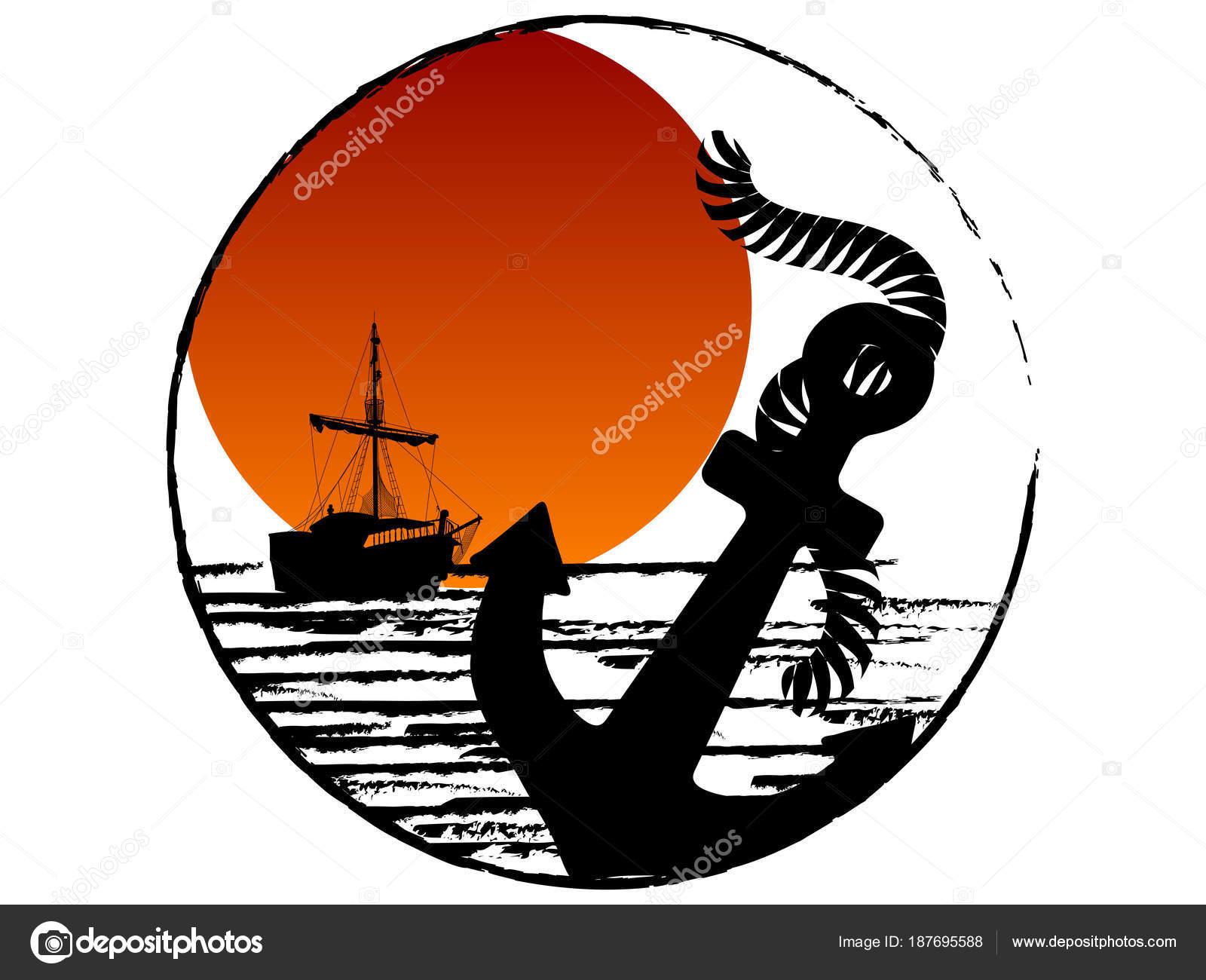 海賊船とアンカーのシルエット ストックベクター sarininka 187695588