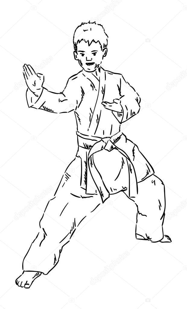Imágenes: karate kid para colorear | chico joven de karate — Vector ...