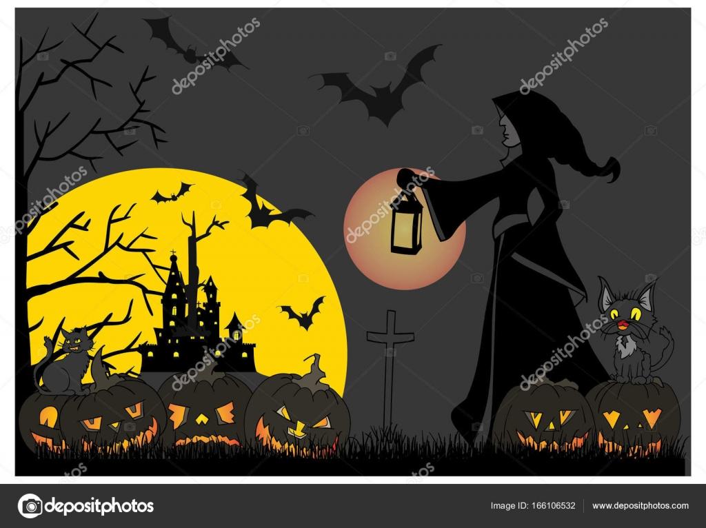 Halloween Thema.Scary Halloween Thema Stockvektor C Pavelmidi 166106532