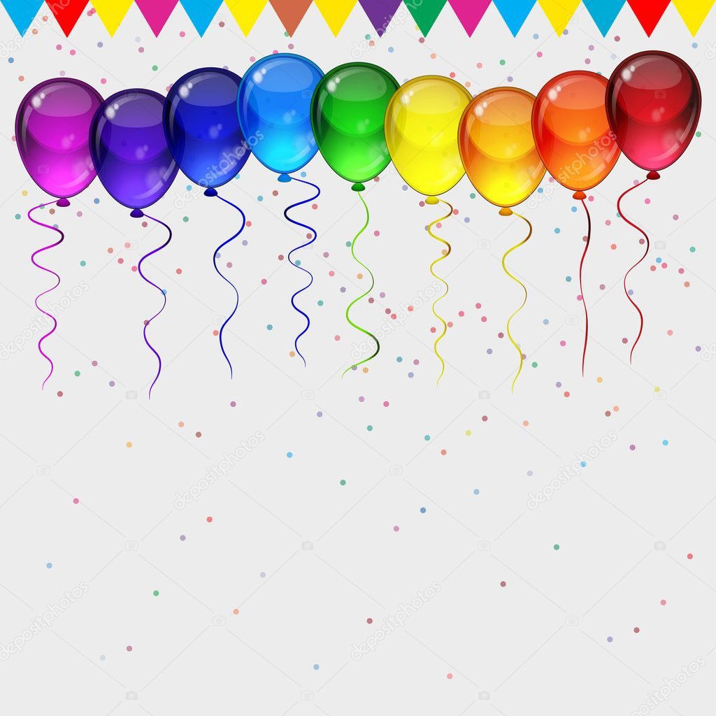 Birthday party vector background realistic transparency colorf