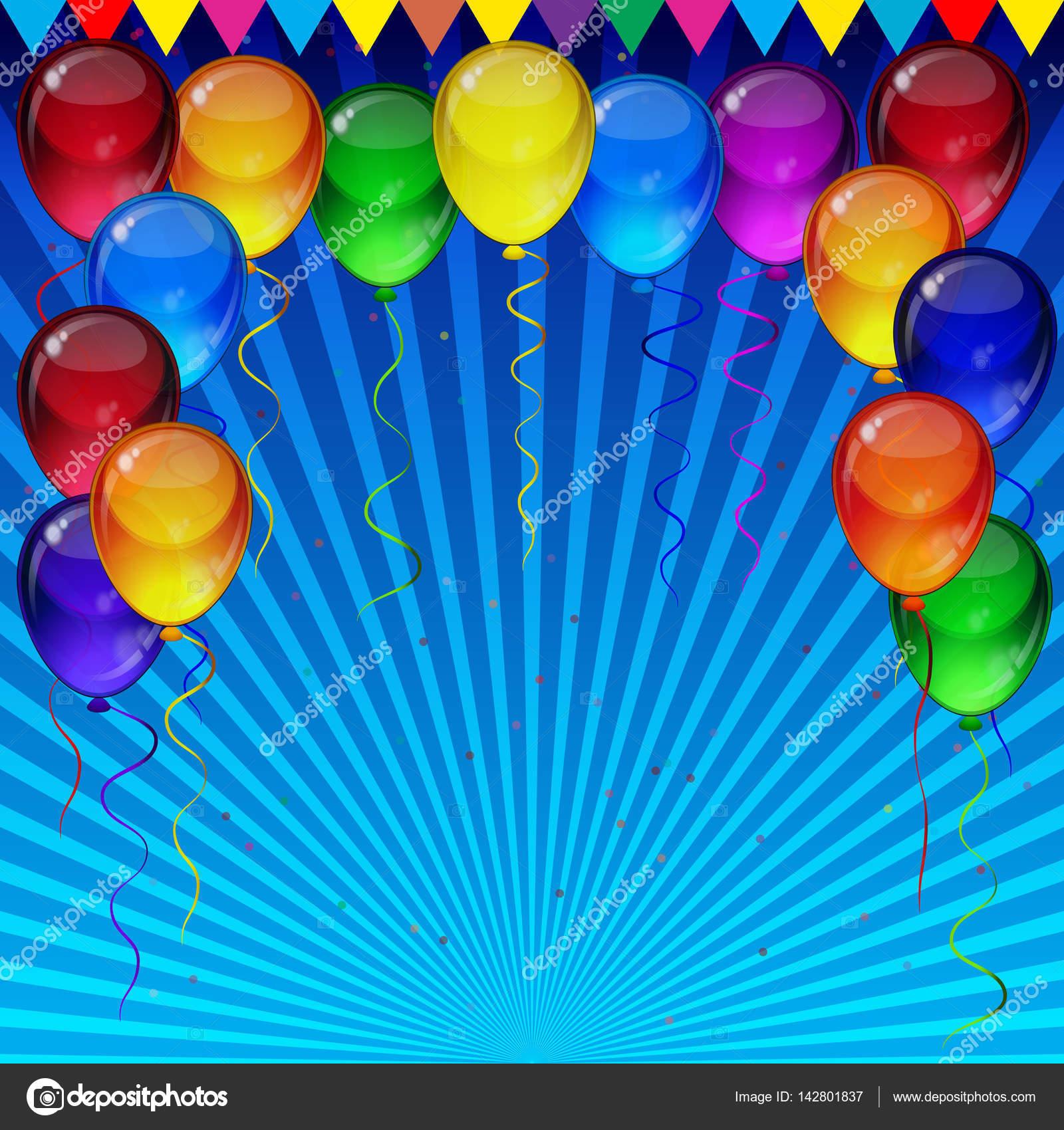 Fondo de la fiesta de cumplea os coloridos globos - Globos fiesta cumpleanos ...