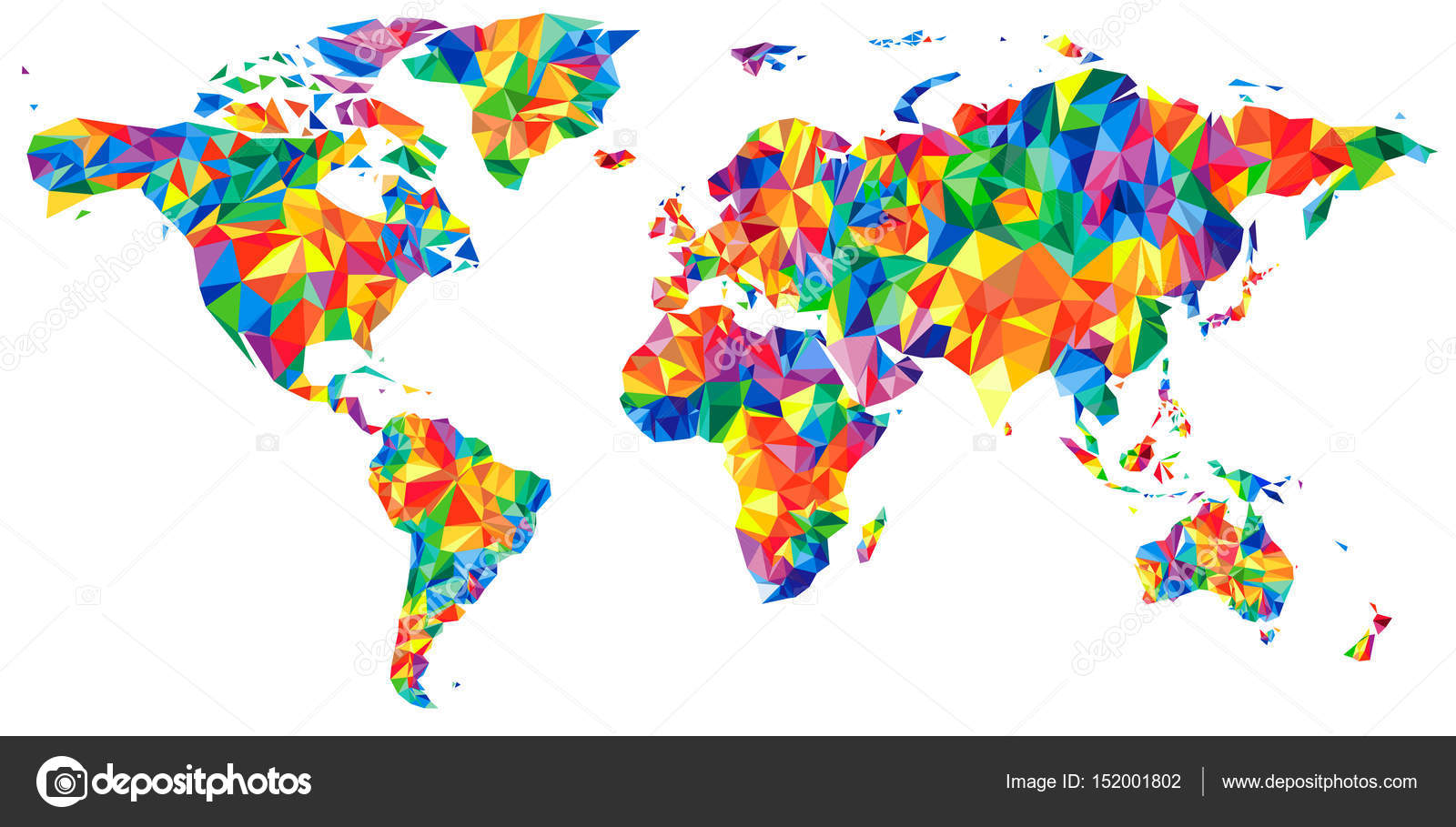 Abstract continents World Map from triangles. Origami style ...