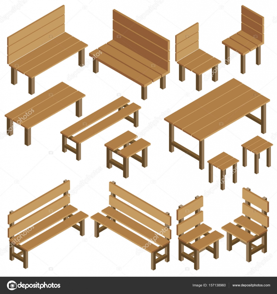 Isometric Vector Garden Furniture For Park City Summer Residen Stock