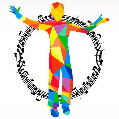 Poligon silhouette dancing human and melody circle, vector music