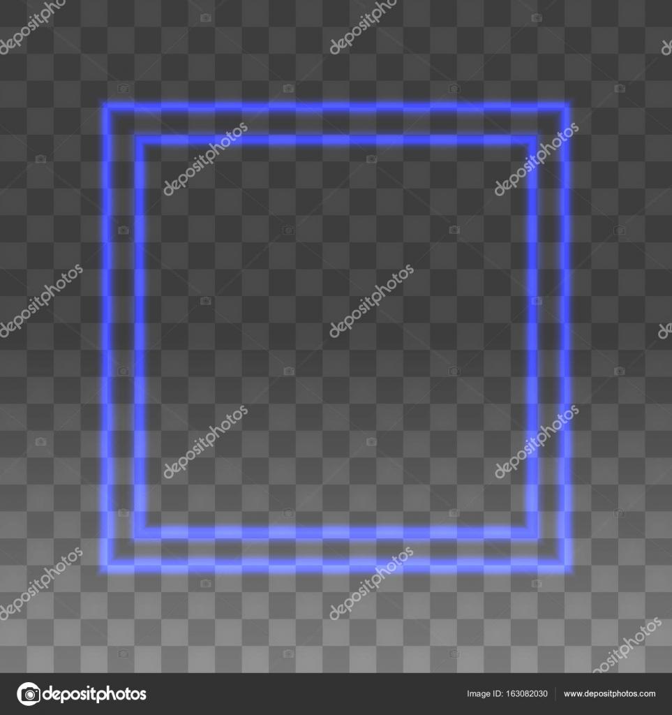 Blauer Neon Rahmen auf einem transparenten Hintergrund — Stockvektor ...