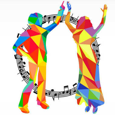 Polygon silhouettes dancing people and melody circle, music battle party background.