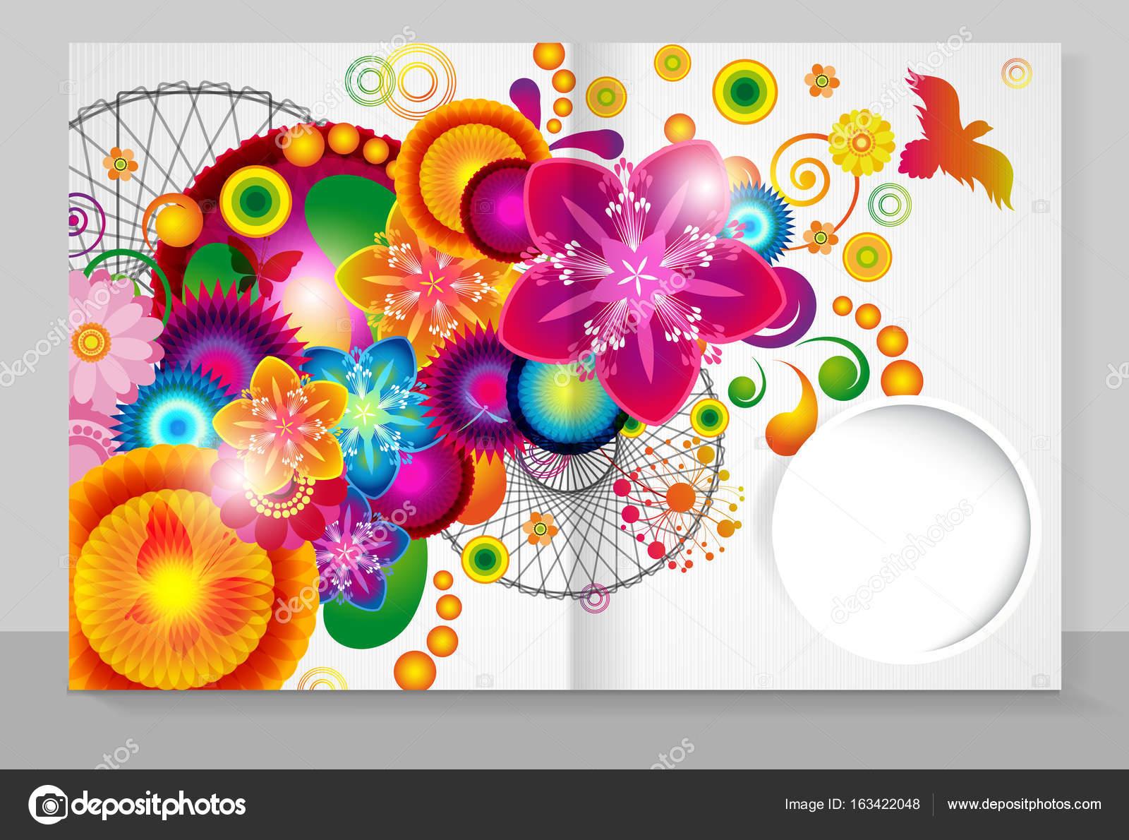 Ein Heft mit einem trendigen Design Cover Vorlage: Blumen-Muster ...