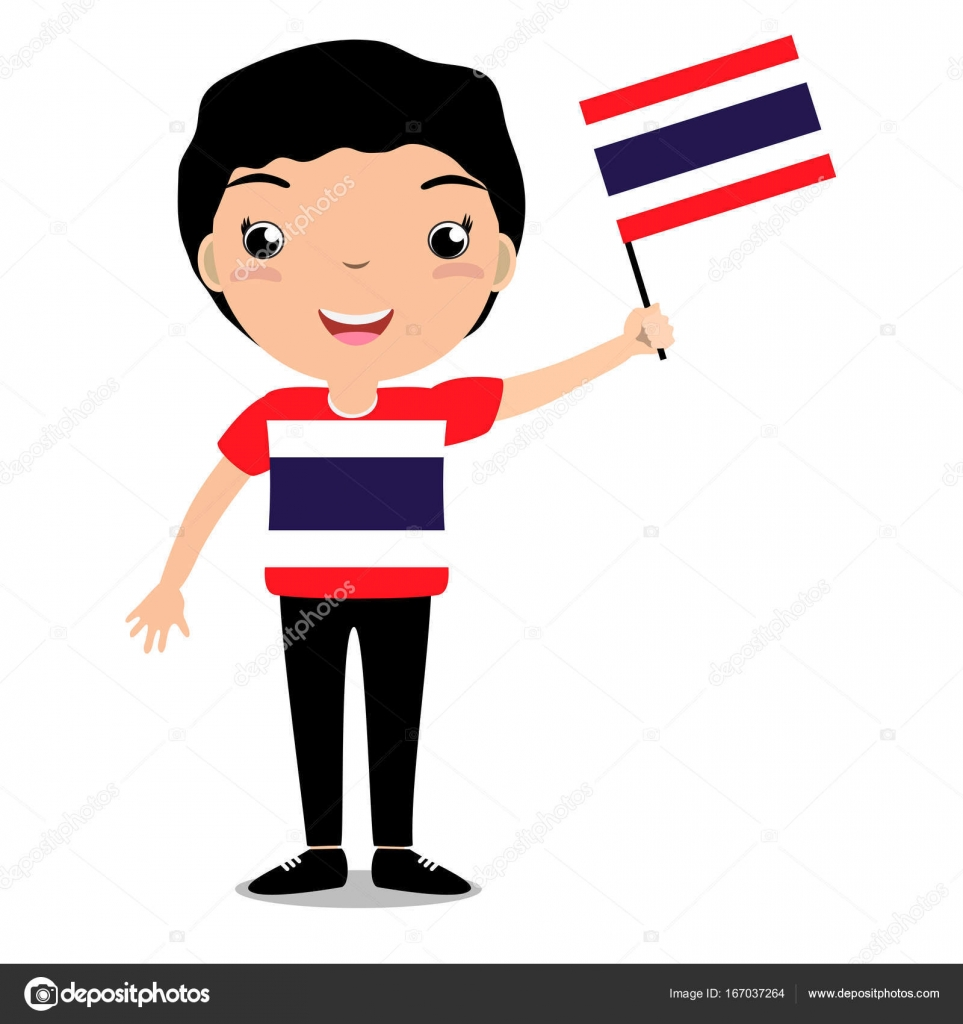 bca6f5019 Smiling child, boy, holding a Thailand flag isolated on white background. —  Stock