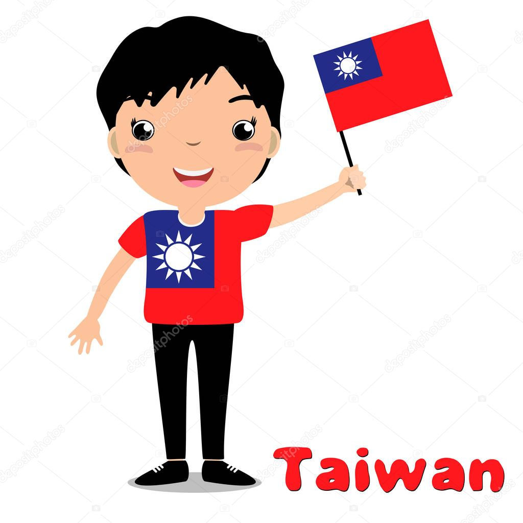 Smiling child, boy, holding a Taiwan flag isolated on white background.